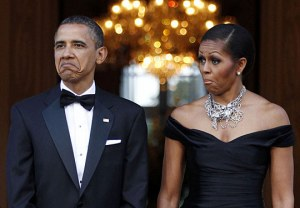 Barack & Michelle Obama making faces